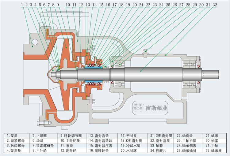 泵的结构简图    (一)不带副叶轮泵的结构简图